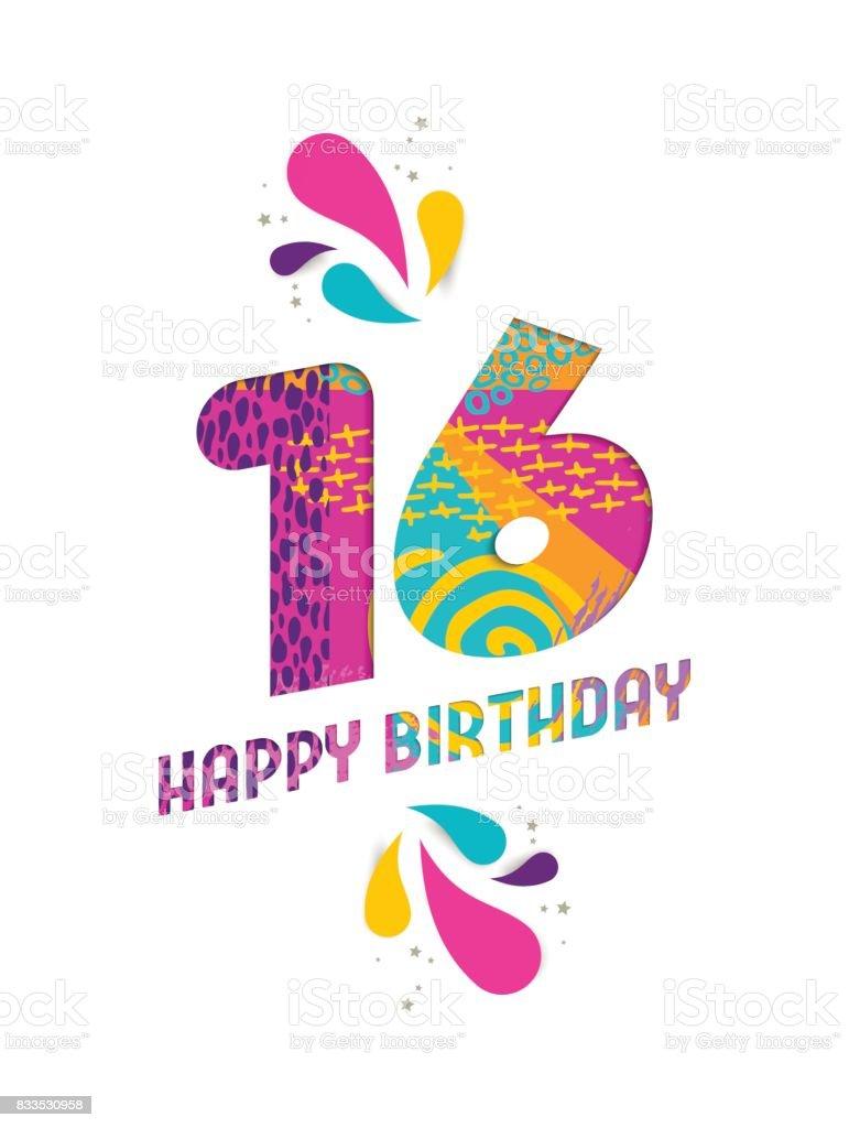 Gelukkige Verjaardag 16 Jaar Papier Knippen Wenskaart