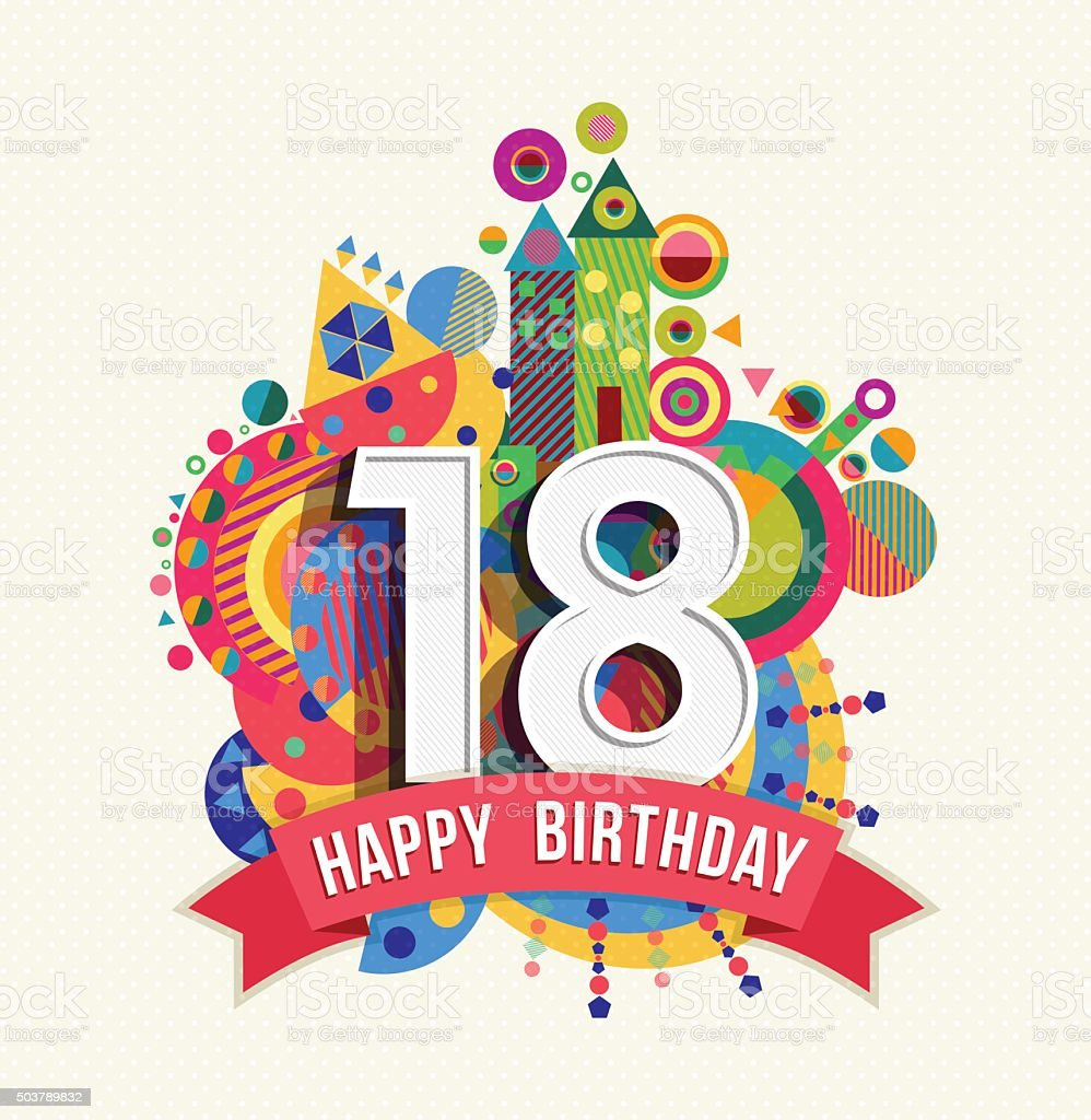 Happy birthday 18 year greeting card poster color vector art illustration
