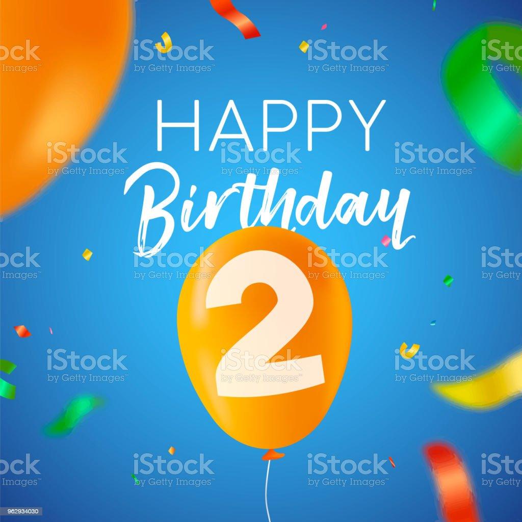 Gelukkige Verjaardag 2 Twee Jaar Ballon Partij Card Stockvectorkunst