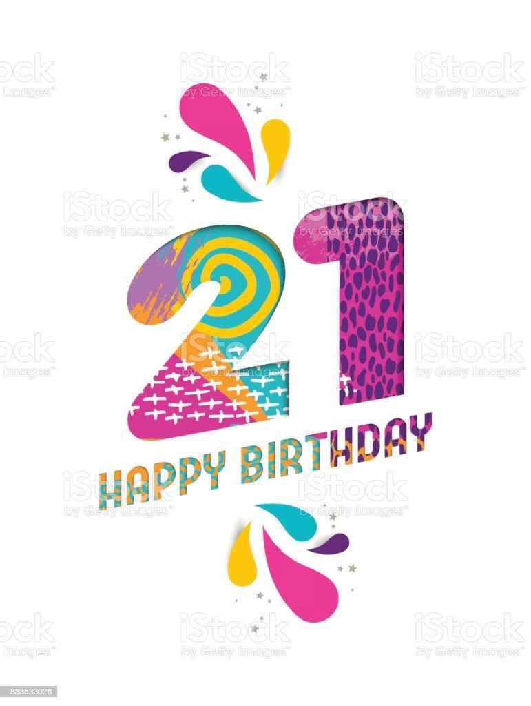 Happy birthday 21 year paper cut greeting card vector art illustration