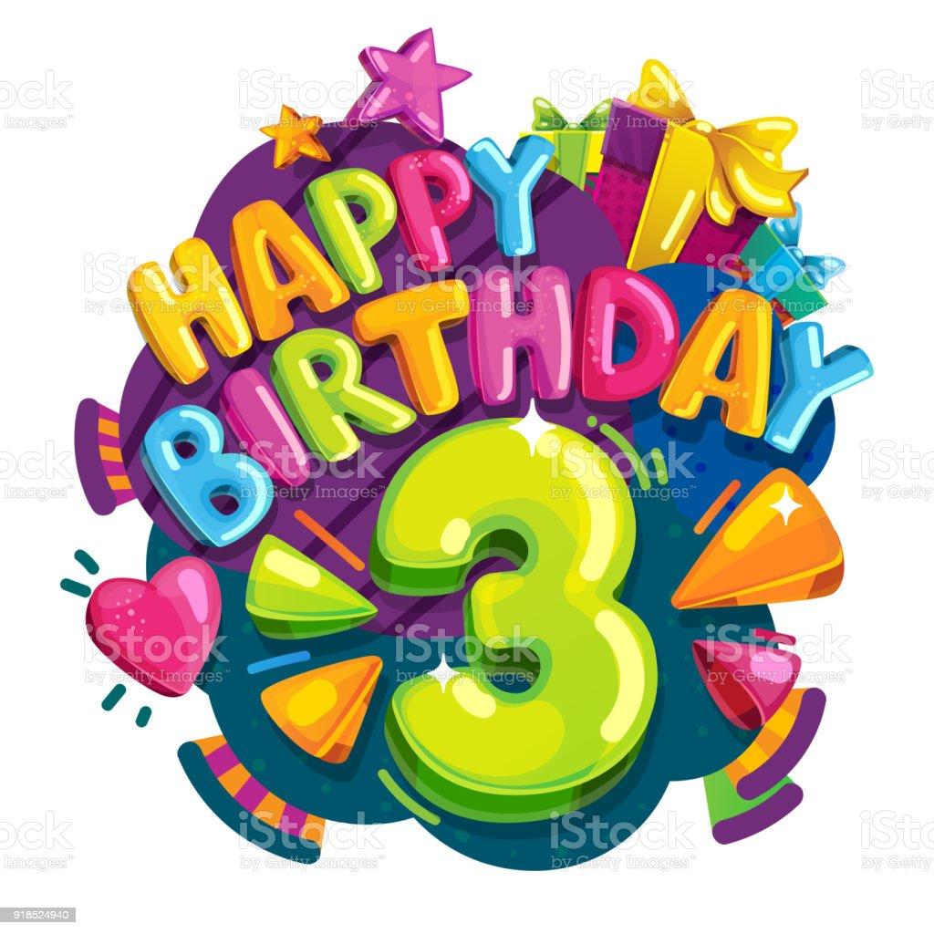 Gelukkige Verjaardag 3 Jaar Stockvectorkunst En Meer Beelden Van