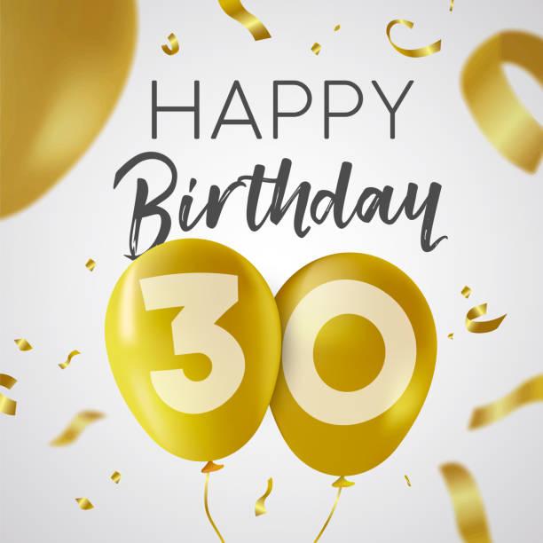 bildbanksillustrationer, clip art samt tecknat material och ikoner med grattis på födelsedagen 30 trettio år guld ballong kort - nummer 30