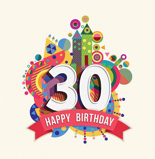 ハッピーバースデーツーユー 30 年間のグリーティングカードのポスター - 30 34歳点のイラスト素材/クリップアート素材/マンガ素材/アイコン素材