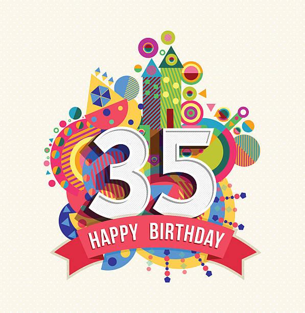 ilustrações, clipart, desenhos animados e ícones de feliz aniversário de 35 anos de cartão de saudação com dossel cor - 35 39 anos