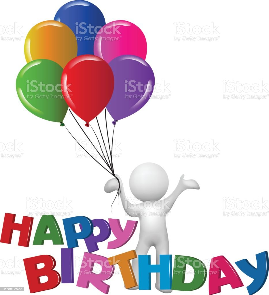 Happy Birthday 3d Man With Balloons Symbol Vector Image