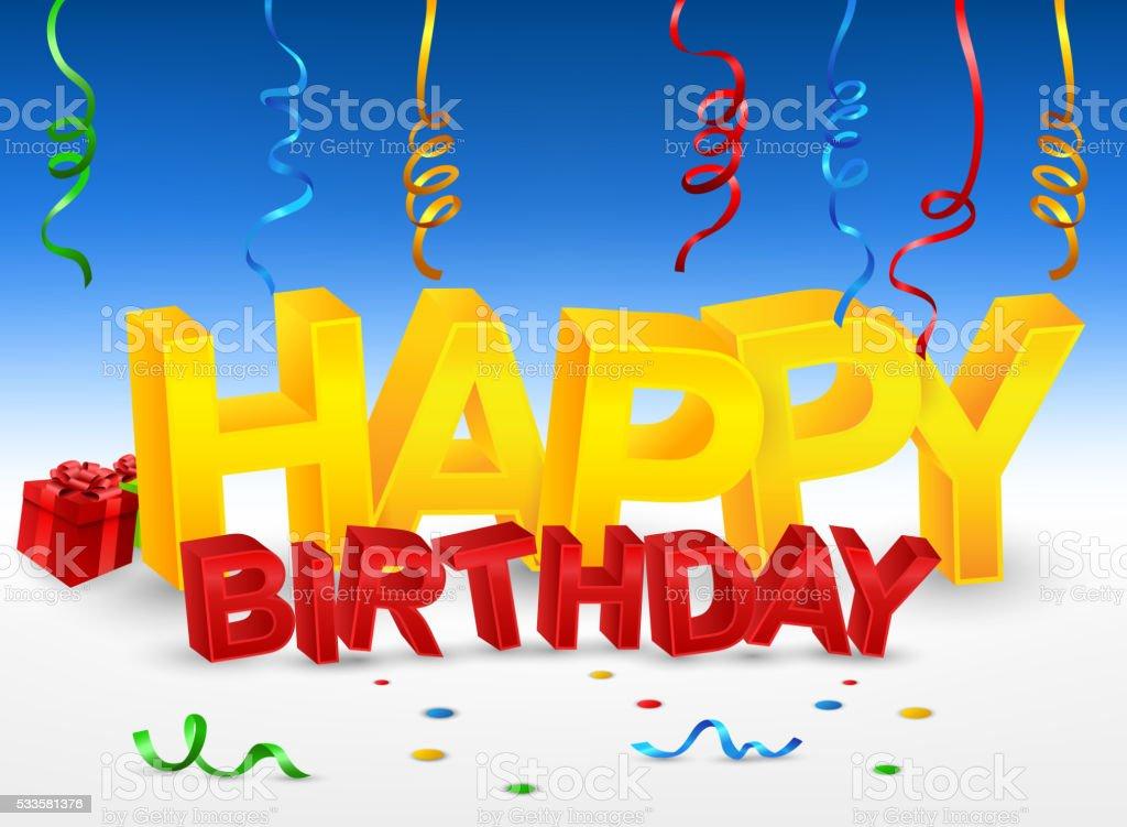 Happy Birthday Design Vector ~ Happy birthday 3d text illustration stock vector art & more images