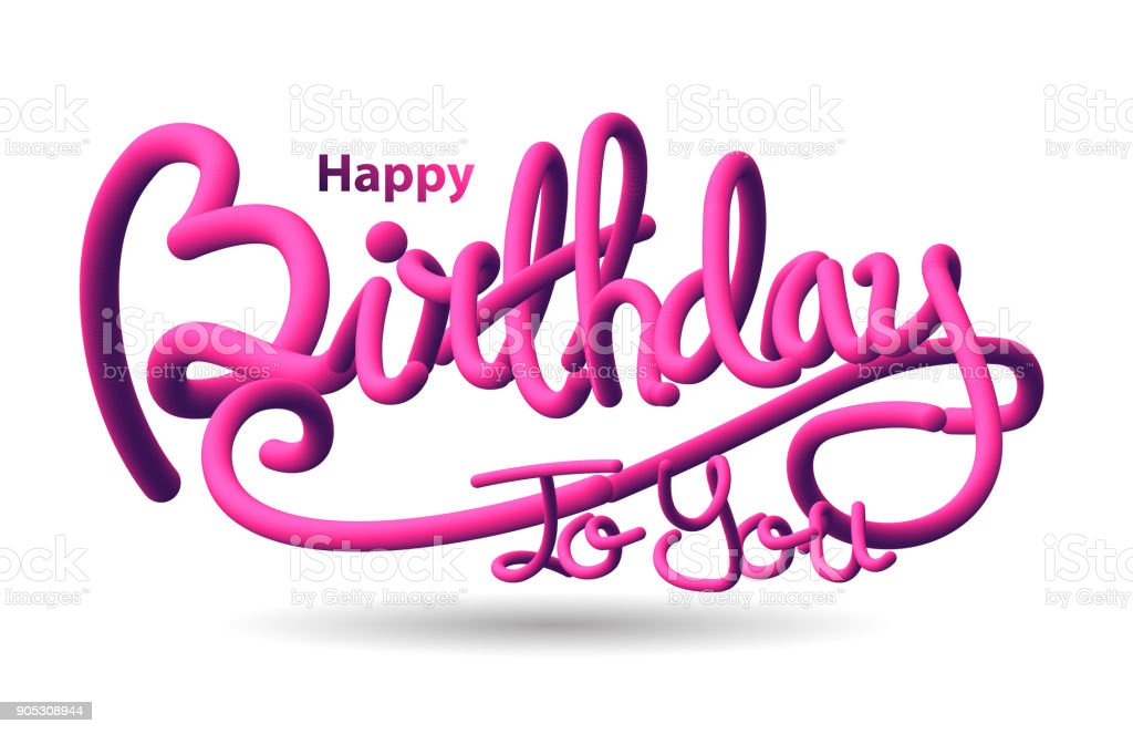 Happy Birthday 3d Text Stock Vector Art & More Images Of