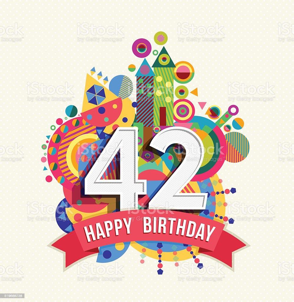 Auguri Buon Compleanno 42 Anni.Buon Compleanno 42 Anno Di Auguri Poster Di Colore