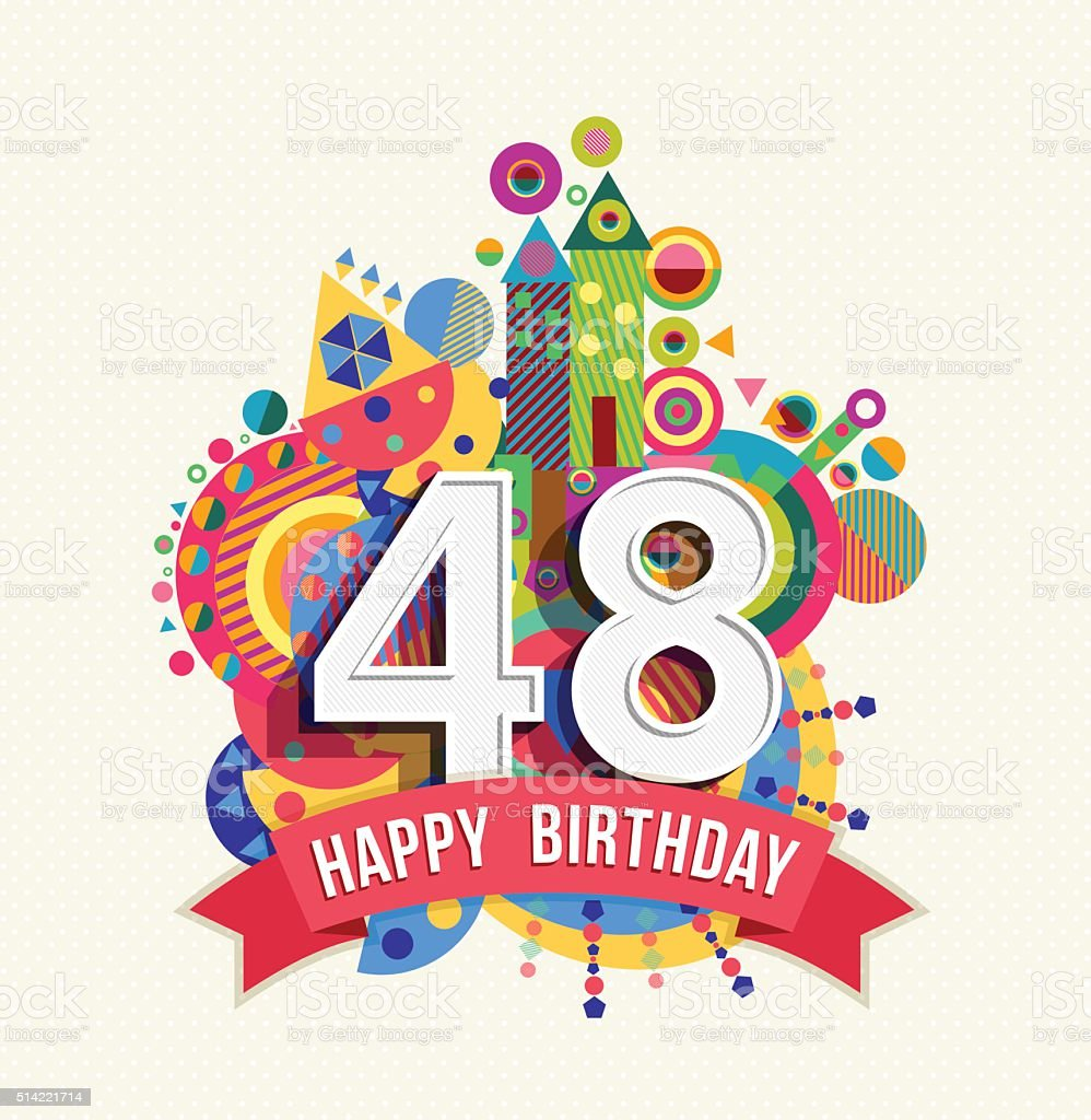 Happy birthday 48 year greeting card poster color royalty-free happy  birthday 48 year greeting