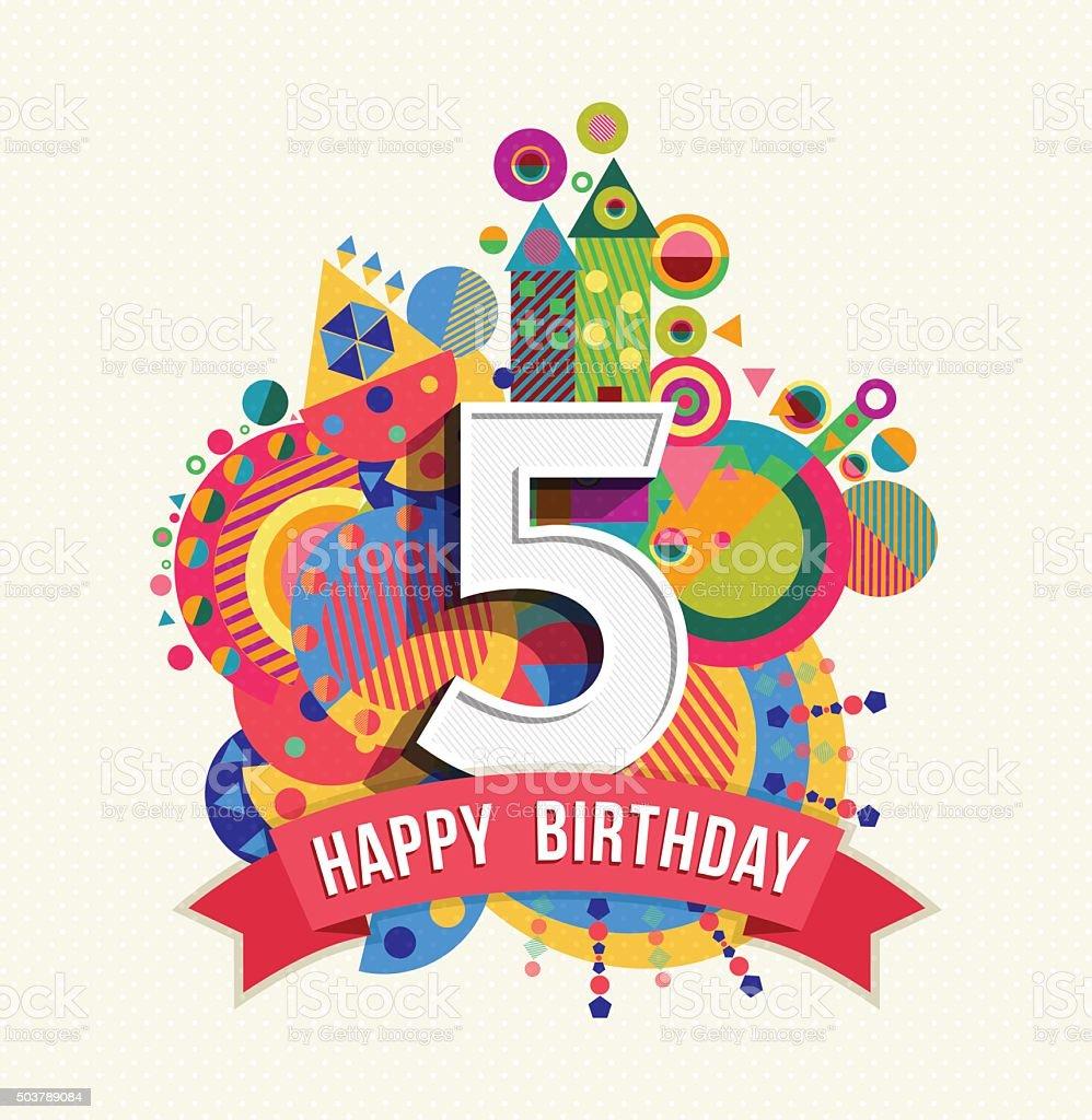 Auguri Buon Compleanno 5 Anni.Buon Compleanno 5 Anni Di Auguri Poster Di Colore Immagini