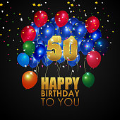 Vector illustration of Happy Birthday 50th with golden number and colorful balloons