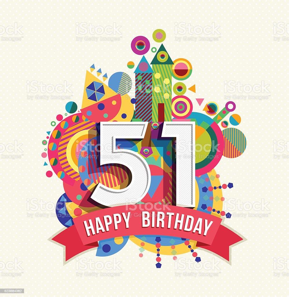 joyeux anniversaire 51 ann e carte de voeux affiche de la couleur cliparts vectoriels et plus. Black Bedroom Furniture Sets. Home Design Ideas