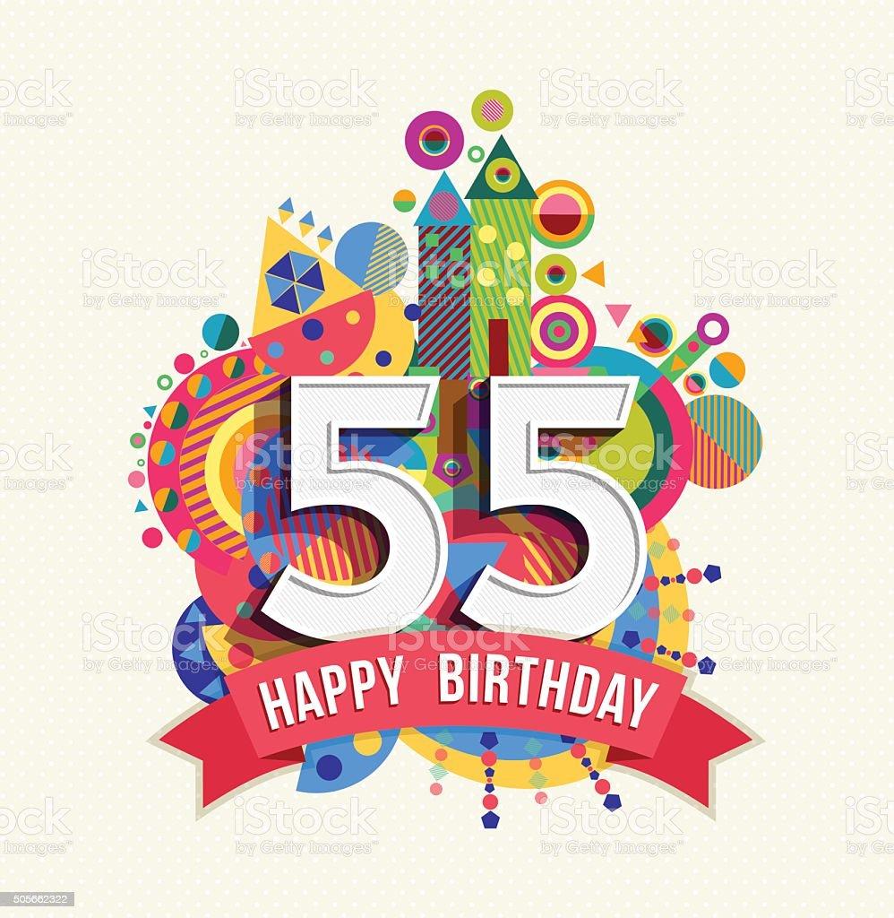 Auguri Buon Compleanno 55 Anni.Buon Compleanno 55 Anno Di Auguri Poster Di Colore