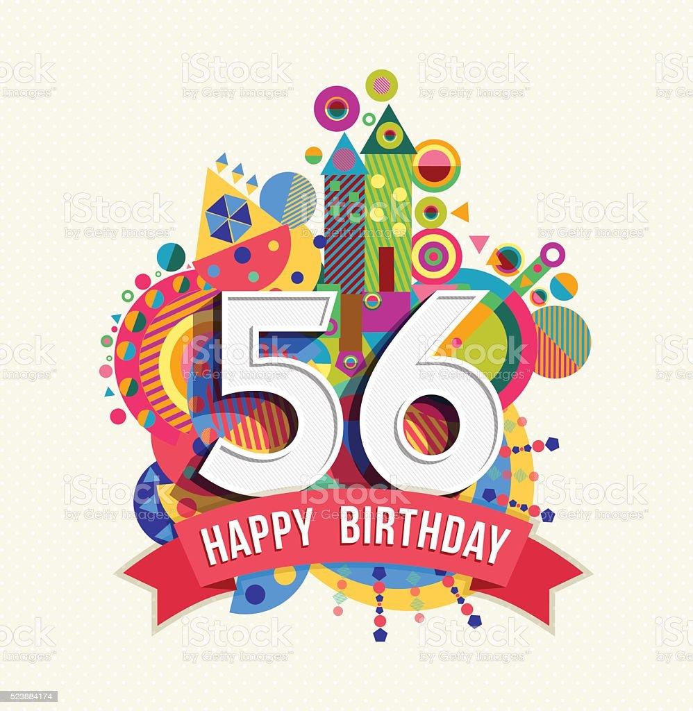 Auguri Buon Compleanno 59 Anni.Buon Compleanno 56 Anno Di Auguri Poster Di Colore