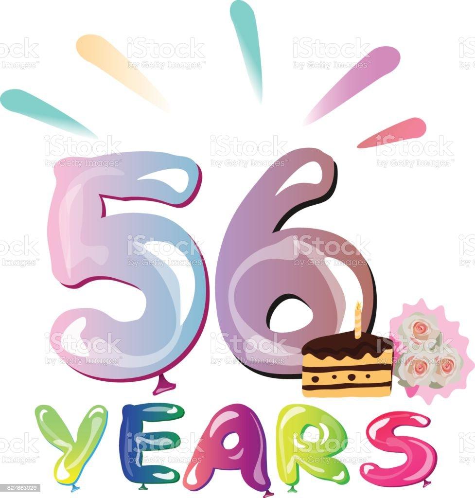 Verjaardag 56.Gelukkige Verjaardag 56 Jaar Stockvectorkunst En Meer