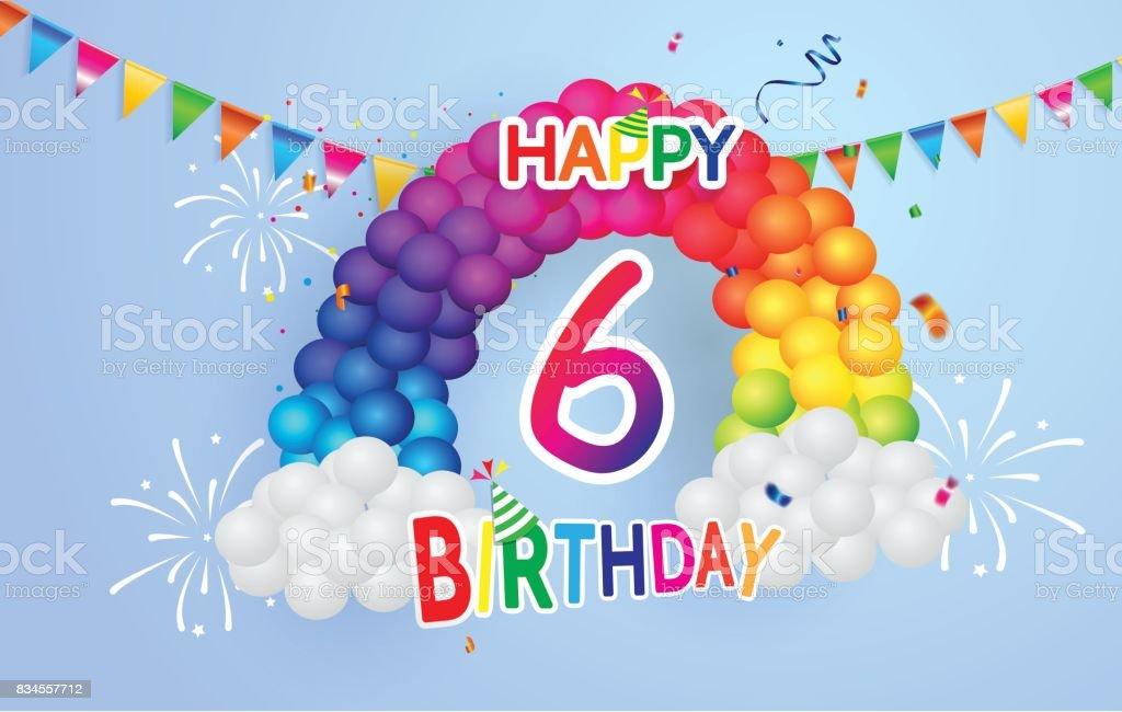 Alles Gute Zum Geburtstag 6 Datum Spass Feier Grusskarte Mit Nummer