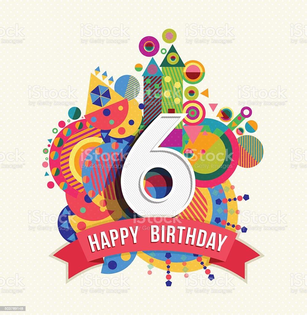 Auguri Buon Compleanno 6 Anni.Buon Compleanno 6 Anni Di Auguri Poster Di Colore Immagini