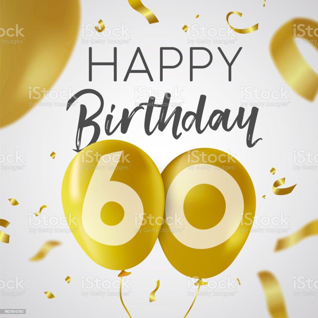 Gelukkige Verjaardag 60 60 Jaar Gouden Ballon Kaart Stockvectorkunst