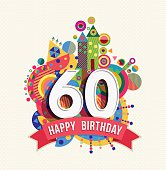 Happy birthday 60 year greeting card poster color