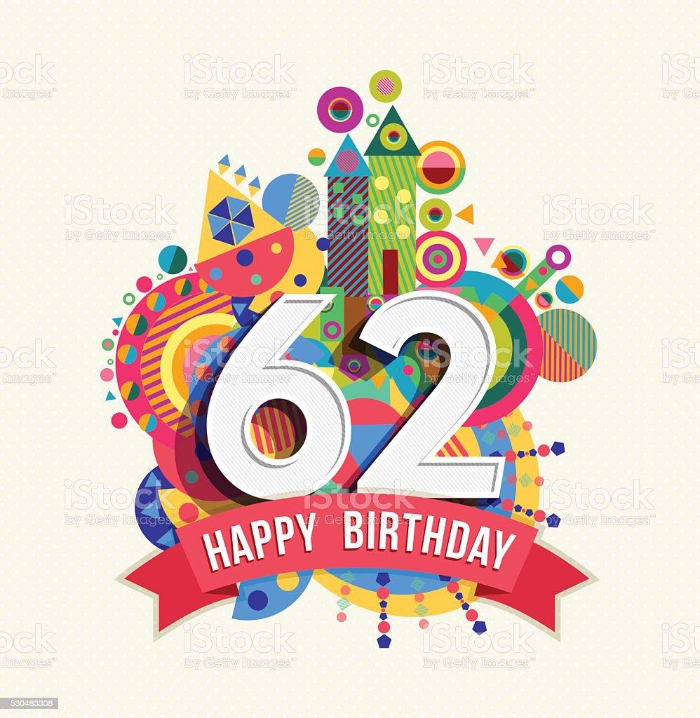 Ilustración De Feliz Cumpleaños 62 Años Tarjeta De