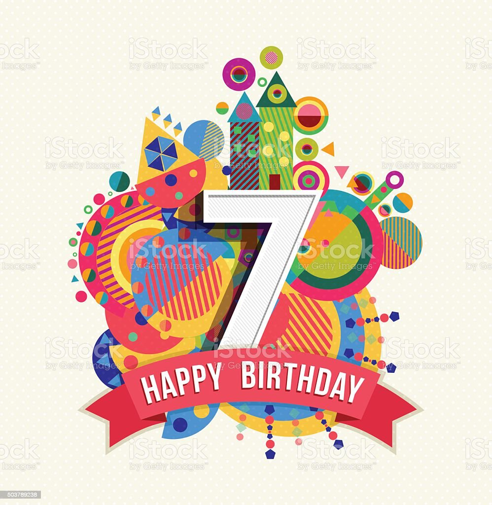 Auguri Buon Compleanno 7 Anni.Buon Compleanno 7 Anno Di Auguri Poster Di Colore Immagini