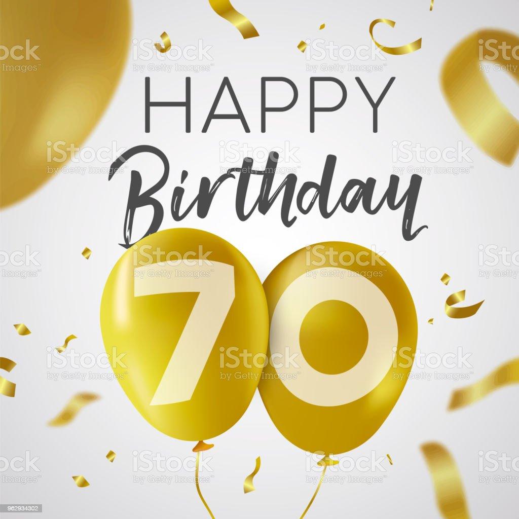 Alles Gute zum Geburtstag 70 siebzig Jahr gold-Ballon-Karte – Vektorgrafik