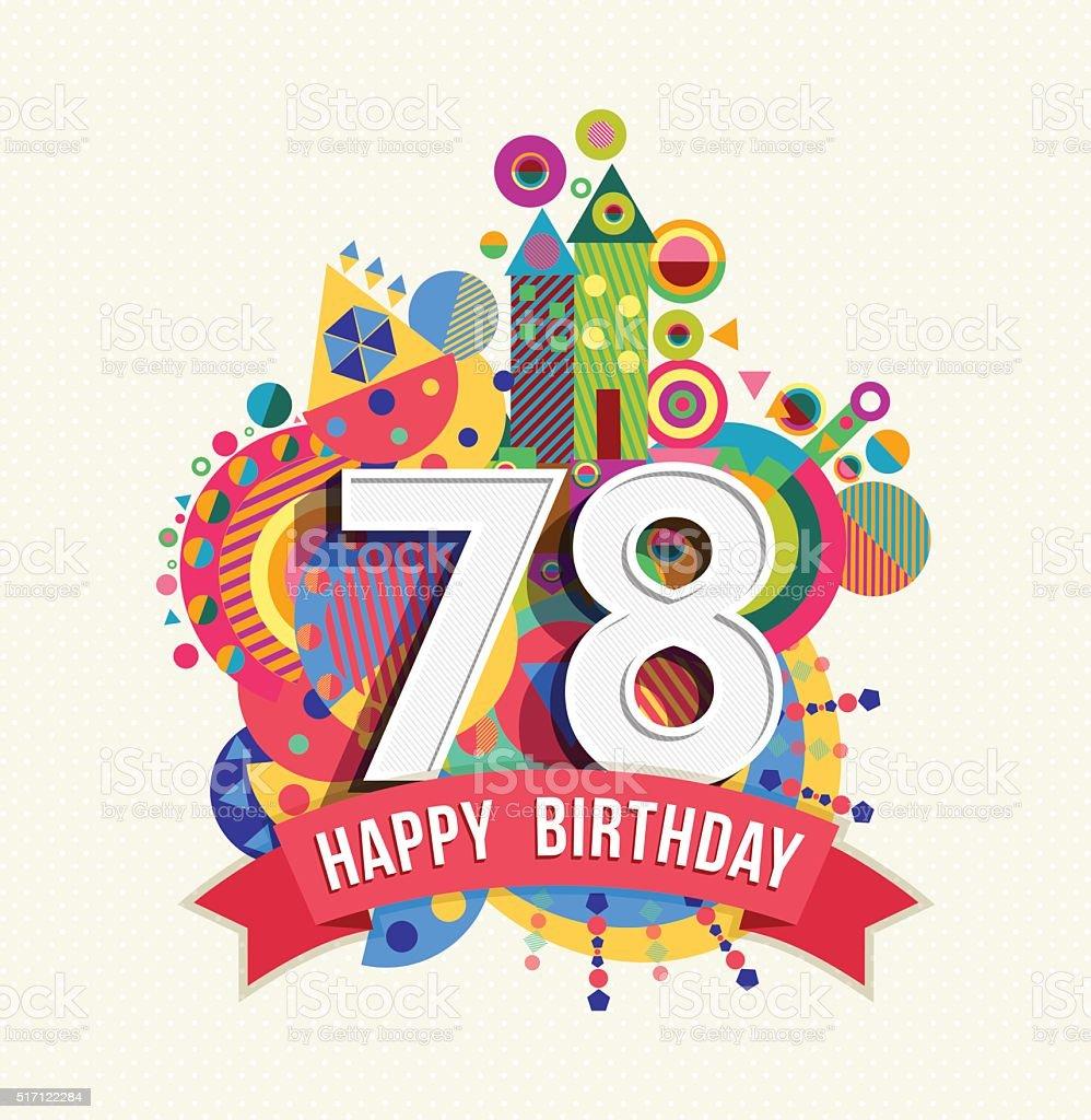 Auguri Di Buon Compleanno 78 Anni.Buon Compleanno 78 Anno Di Auguri Poster Di Colore