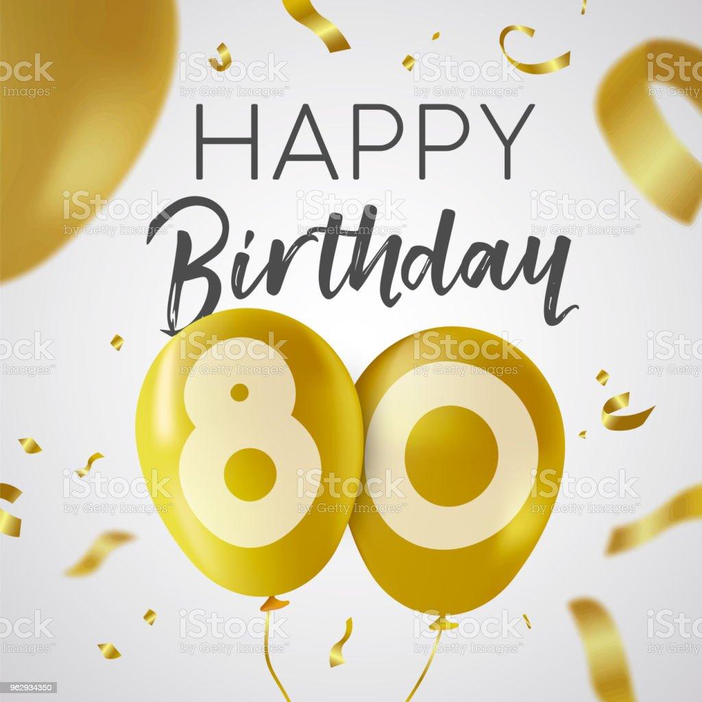Beroemd Gelukkige Verjaardag 80 Tachtig Jaar Gouden Ballon Kaart @XI05
