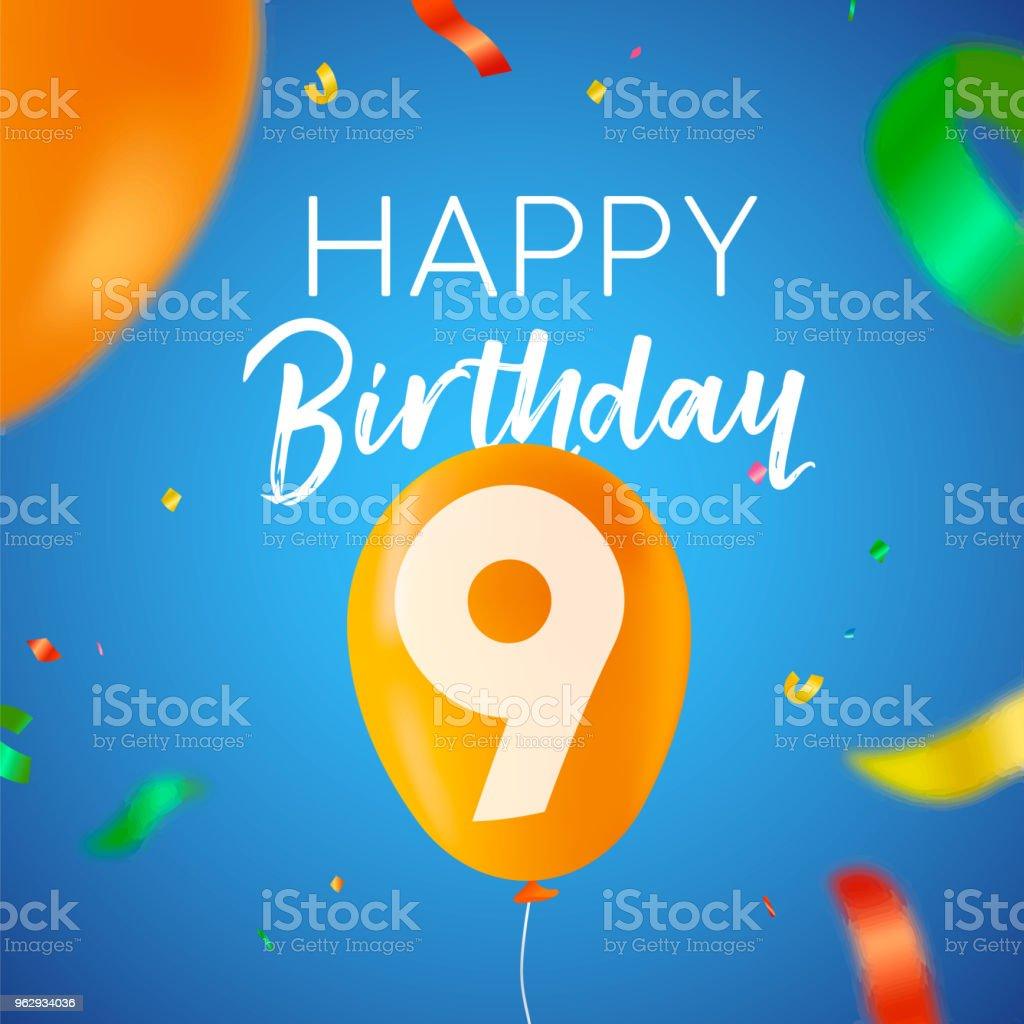 Alles Gute Zum Geburtstag 9 Neun Jahr Ballon Partykarte Stock Vektor