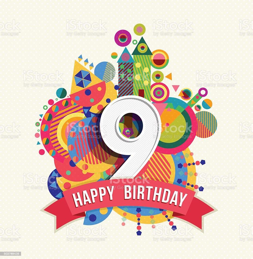 Auguri Di Buon Compleanno 9 Anni.Buon Compleanno 9 Anni Di Auguri Poster Di Colore Immagini