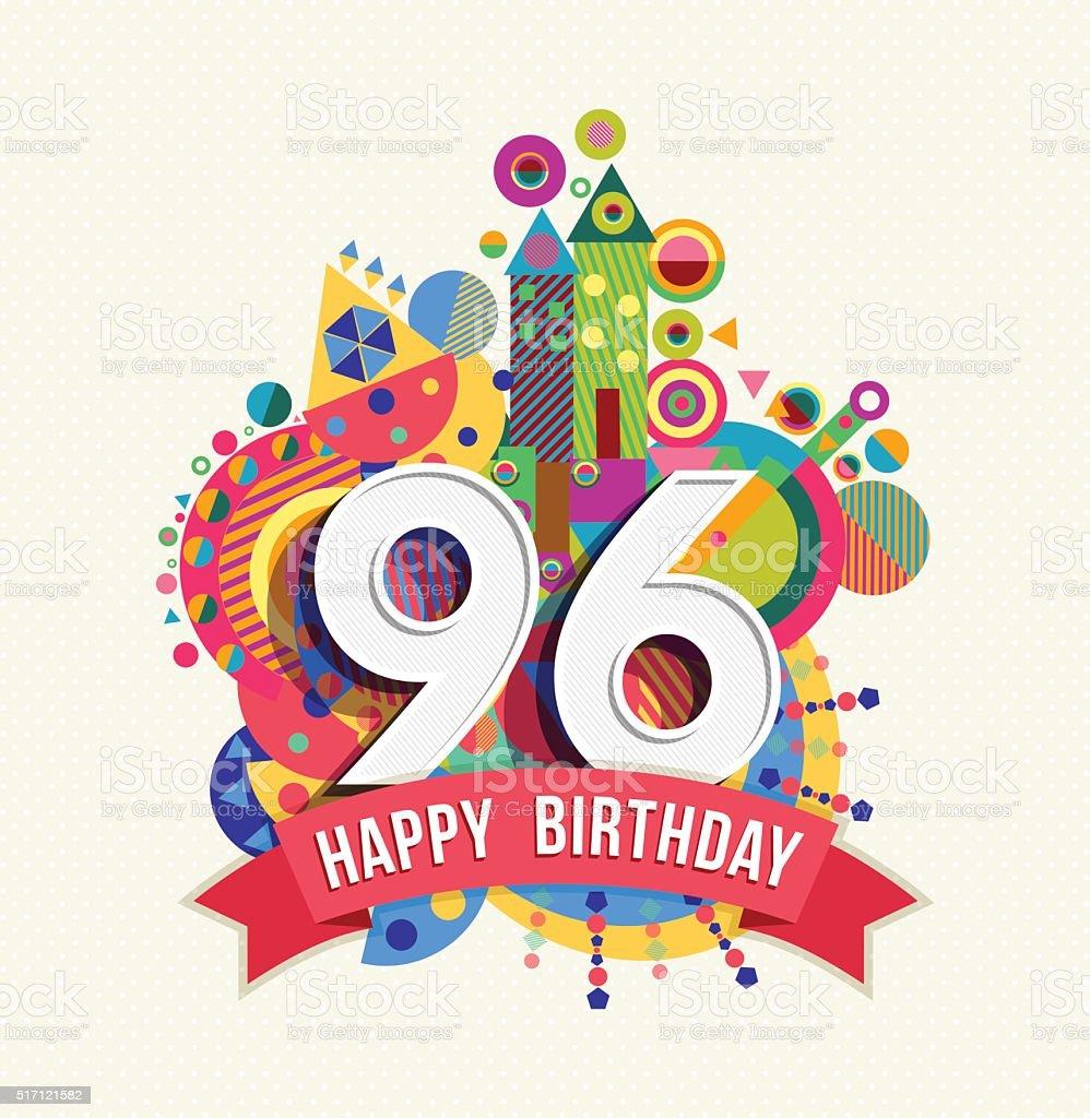 Favorito Buon Compleanno 96 Anno Di Auguri Poster Di Colore Illustrazione  VN18