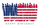 American flag and birthday candle