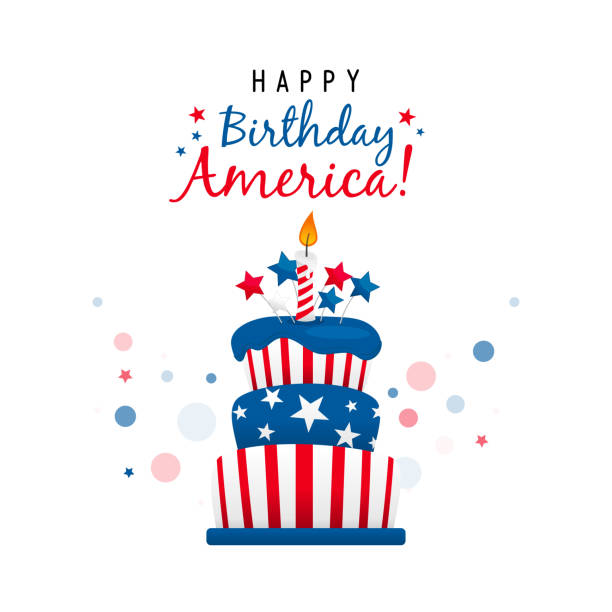 happy birthday america greeting card vector design, usa cake. - happy 4th of july stock illustrations