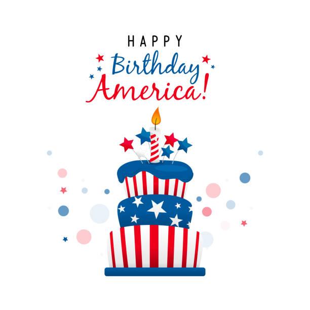 生日快樂美國賀卡向量設計,美國蛋糕。 - happy 4th of july 幅插畫檔、美工圖案、卡通及圖標