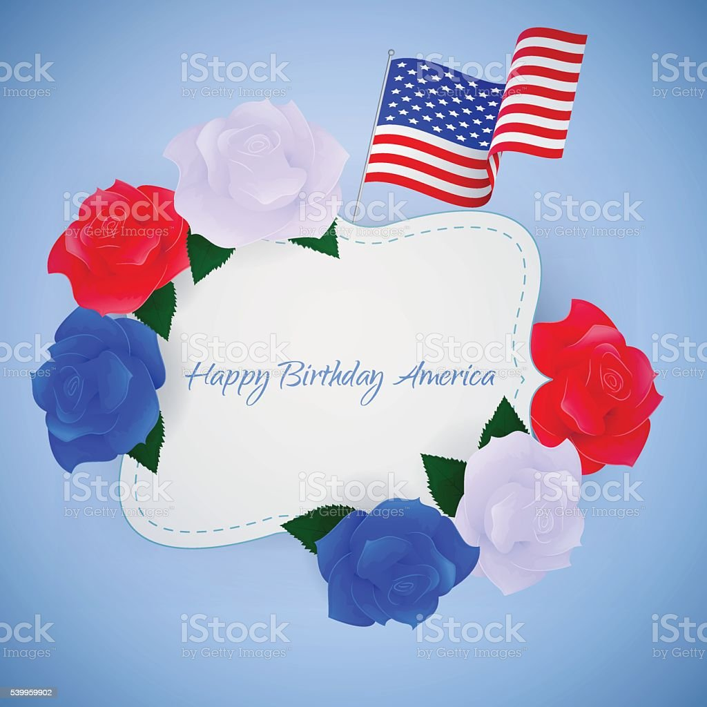 Happy Birthday America Greeting Card Stock Vector Art More Images
