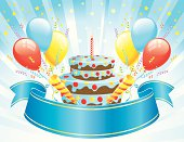 Big Banner with a Blue Burst of Birthday Decorations. Easy to add candles. Layered File.