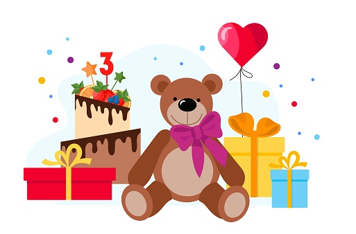 Happy birthday baby cute greeting card with cake and toys. Flat style illustration.