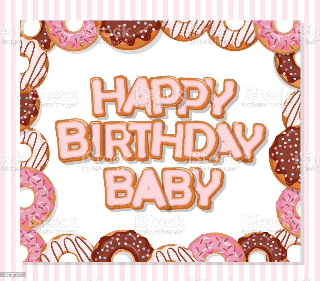 Happy Birthday Baby Sweet Greeting Card Template For Girls Donuts Frame And Striped Pattern Included Stock Illustration Download Image Now