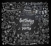 Happy Birthday background. Hand-drawn Birthday sets, party blowouts, party hats, gift boxes and bows. vector illustration chalk texture isolated on black background