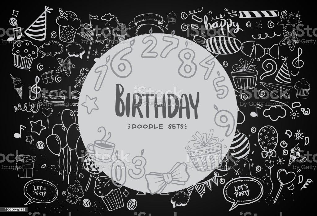 Happy Birthday background. Hand-drawn Birthday sets vector art illustration