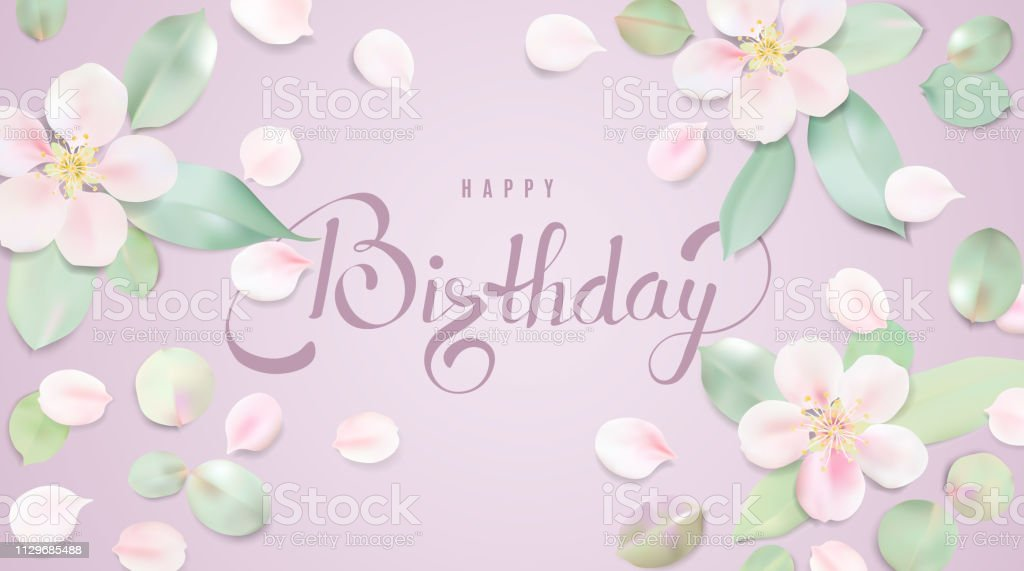 Happy Birthday background template with flower petals and lettering. vector art illustration