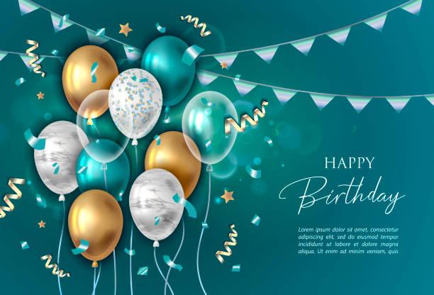 ilustraciones, imágenes clip art, dibujos animados e iconos de stock de fondo de cumpleaños feliz con globos. - cumpleaños