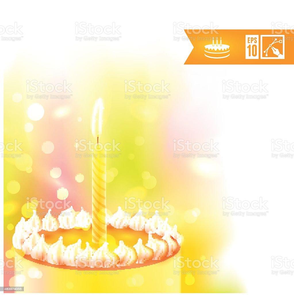 Happy Birthday Background With Cake Vector Illustration Eps10 Stock