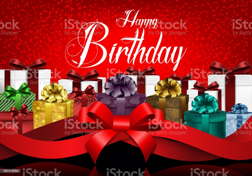 Happy Birthday Background With Color Gift Boxes And Red Ribbon Stock