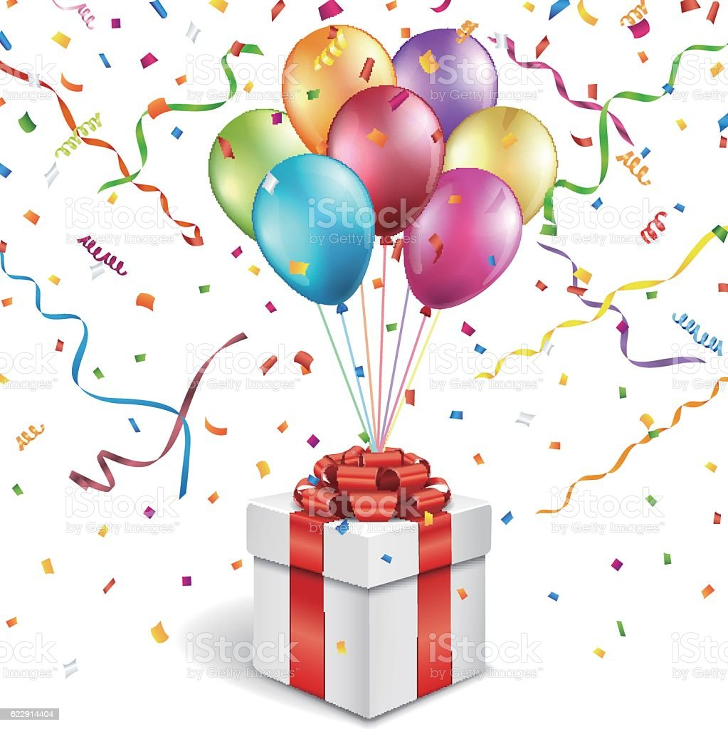 Happy Birthday Background With Gift Box And Colorful Balloons Stock