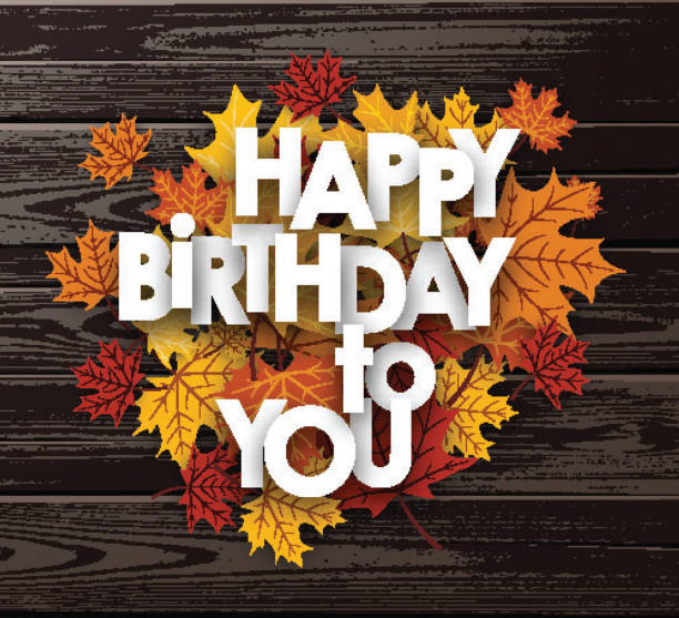 autumn birthday illustrations royalty  vector