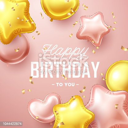istock Happy Birthday background with pink and gold floating balloons 1044422574