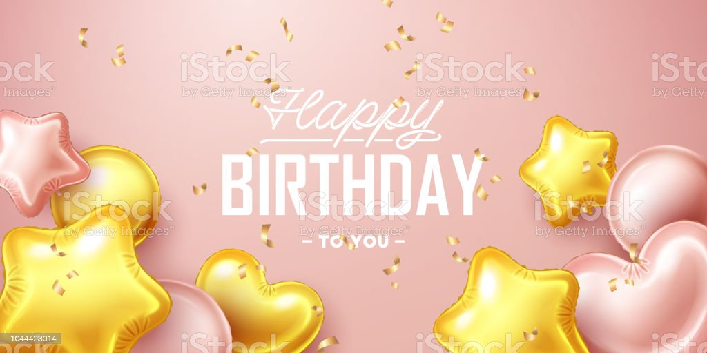 Happy Birthday Background With Pink And Gold Floating Balloons Stock Illustration Download Image Now Istock
