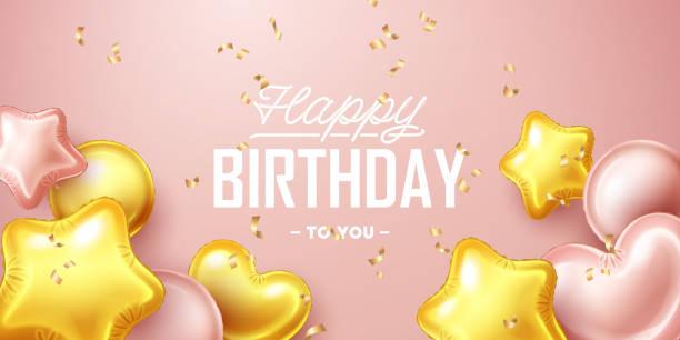 ilustrações, clipart, desenhos animados e ícones de fundo de aniversário feliz com rosa e ouro balões de flutuação - novo bebê