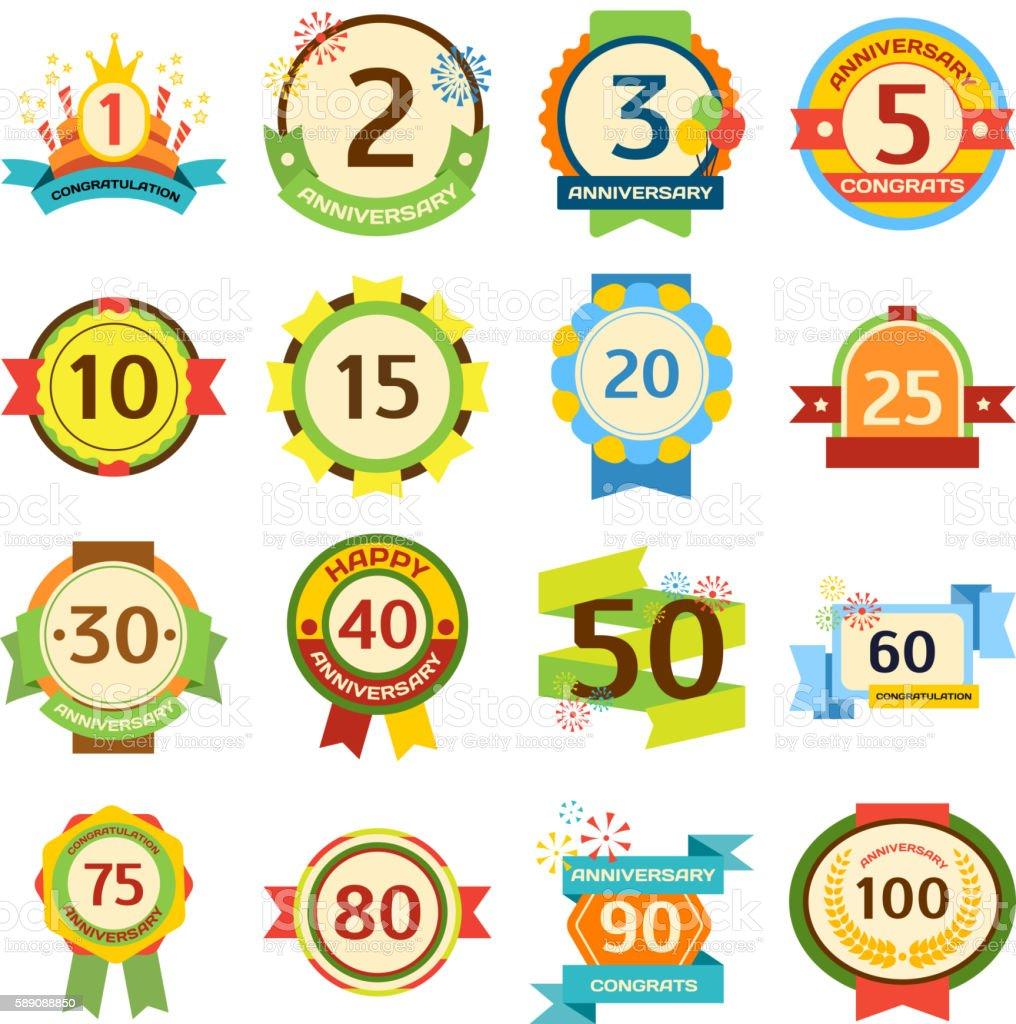Happy birthday badges vector set. - ilustración de arte vectorial